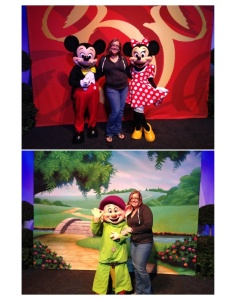 Posing with Mickey and Minne and Dopey at the Pasta in the Park Party