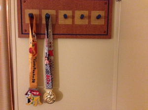 My makeshift medal hanger in my room after two days.