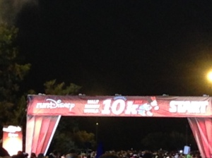 Waiting in the start block just before the start of the Inaugural WDW 10k.
