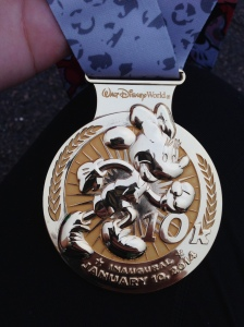 The medal for the inaugural WDW 10k.