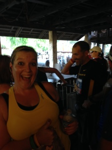 Waiting in line to get on Expedition Everest at Animal Kingdom just after the halfway point of the marathon!