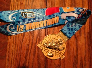 13.1 miles done; the Donald Duck WDW Half Marathon Medal