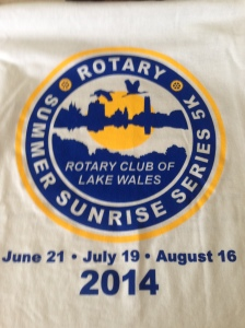 The race t-shirt for the Lake Wales Summer Sunrise series.
