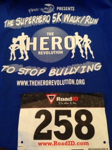 The race t-shirt and my bib for the Superhero 5k.
