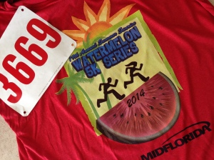 The race t-shirt and my final bib for the Watermelon series.