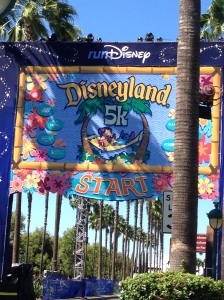 The start line for the Disneyland 5k. I passed this on the way to packet pickup.