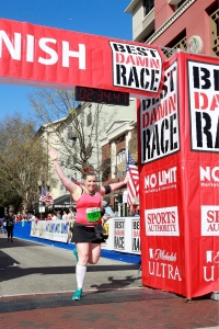 I jumped across the finish line as I finished the race. Knowing I PR'd was the greatest feeling!