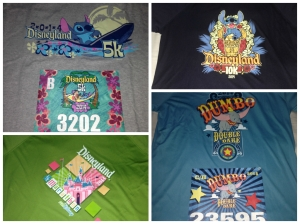 The race t-shirts and my bibs for all of the events of Disneyland Half Marathon Weekend.
