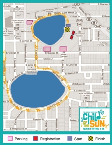 The course map for the Child of the Sun 5k. The course winds around two Lakeland lakes.
