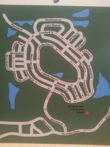 """The course map for the Lake Nona Pig Run. The course winds and loops and the center park is the """"Pigpen""""."""
