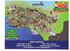 Course map for the Citrus Classic 5k at LegoLand.