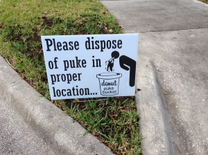 A sign along the course after the doughnut challenge during the Lake Nona Pig Run.