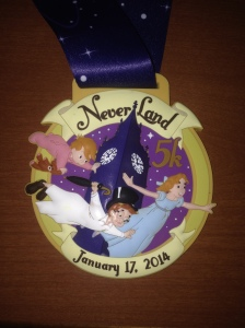 The finisher's medallion for the Never Land 5k 2014.