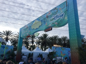 A view of the Tinker Bell half marathon finish line from the ChEAR Squad stands.