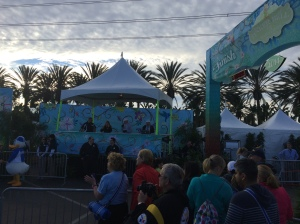 The finish line and race announcers booth at the Tinker Bell half marathon.