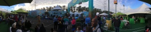A panoramic view of the finish line area from the ChEAR Squad grandstands at the Tinker Bell half marathon.