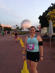 I stopped for this photo in front of Spaceship Earth during the Royal Family 5k. Running through EPCOT is so pretty!