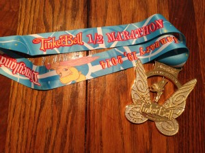 The finisher's medal for the Tinker Bell half marathon 2014.