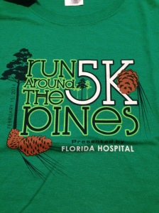 The race shirt for the Run Around the Pines 5k. It has a cute design on a standard cotton t-shirt.