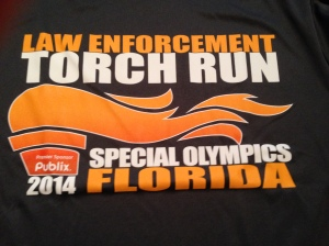 The race shirt for the WHPD Torch Run is a standard cotton tee.