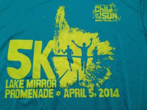 The race t-shirt for the Child of the Sun 5k is a great color and it's a tech tee.