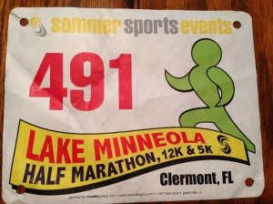 My race bib for the Lake Minneola half marathon.