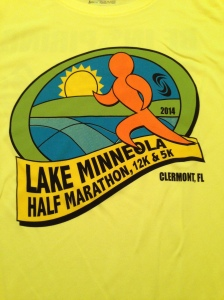 Bright yellow race shirt for the Lake Minneola half.