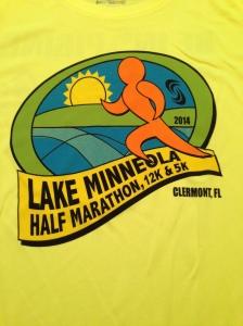 Bright yellow race shirt for the Lake Minneola half.