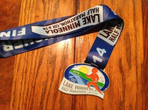 The finisher's medal for the Lake Minneola half (the same medal was given to the 5k finishers).