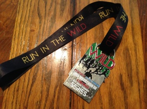 The finisher's medal for the MOAT half. Runners who completed all four races in the series can join their medals to create one big piece.