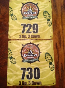 Our Team bibs for the Expedition Everest Family Challenge