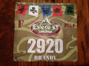 Race bib for 2014 Expedition Everest Challenge.