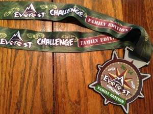 The finisher's medallion for the Expedition Everest Challenge Family Edition.