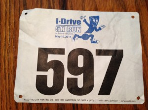 My race bib for the I-Drive 5k.