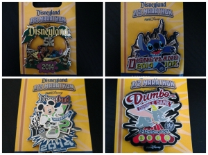 All four Commemorative Pins for the Disneyland Half Marathon Weekend events.
