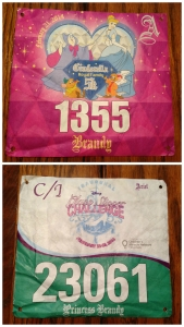 Bibs for the races of Princess half marathon weekend. The top bib is for the Royal Family 5k and the bottom bib is for the Inaugural Glass Slipper Challengs.