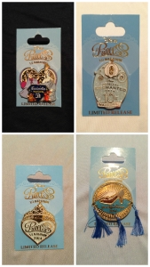 The commemorative pins for all of the race events at Princess half marathon weekend.
