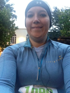 Dressed as warm as I can be and ready to start the Season's 52 5.2k. Being sick is NOT fun!