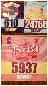 Bibs for all three races of Tinker Bell weekend. From top, clockwise, 5k, 10k, and half marathon.