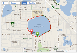 The course map for the Watermelon Series races. It's a simple loop around Lake Hollingsworth in Lakeland.