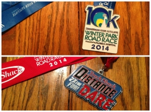 The 10k and Distance Dare medals for the Winter Park Road Race.
