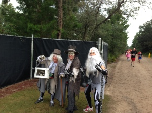 These are some runners during the Happy Haunted 5k. Their costumes as the hitchhiking ghosts are FANTASTIC!