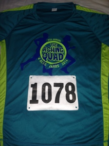I love the color of the race shirt for the Aching Quad!