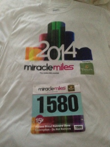 Shirt and bib for the Miracle Miles 15k.