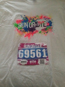 The race shirt for Run or Dye and my race bib. I decided to wear the shirt for the race since I don't have any clothes that I don't want to get stained.