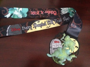 The finisher's medallion from the Happy Haunted 5k.