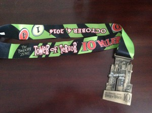 The finisher's medal for the Tower of Terror 10 Miler.