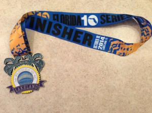 The finisher's medal for the Florida 10 Lakeland race.