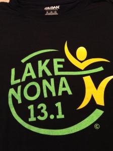 The race shirt for the inaugural Lake Nona half marathon.