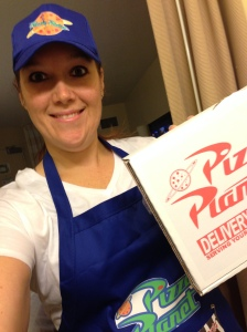 Ready to head to deliver pizza to the Jingle Jungle 5k.